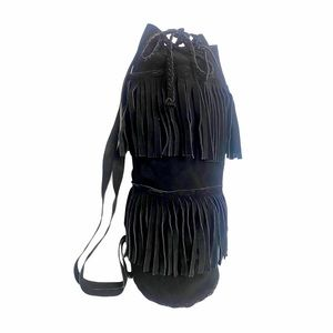 Suede Tiered Fringe Bucket Bag Boho Drawstring Blk